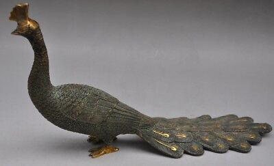 Old chinese fengshui bronze gilt animal Peacock bird lucky statue Decoration