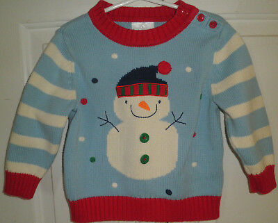 Hanna Andersson 3T Sweater Blue Red Cotton Striped Long Sleeve Snowman Pullover