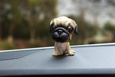 Resin Funny Pug Dog Bobbing Bobble Head Doll Toy Car Home Desk Decor Funny Gift