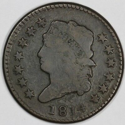 1814 1c Classic Head Large Cent UNSLABBED