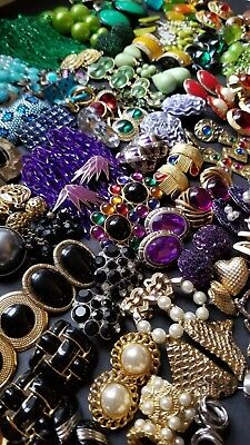 Large Lot of Vintage Clip ons and Pierced Earrings Retro Some Signed  107 Pairs