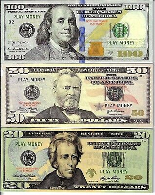 REAL LOOKING not legal Play Money $100, $50, $20 X20 EACH. 1 side only
