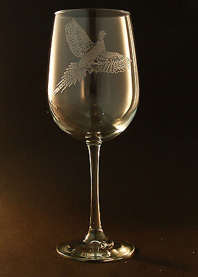 New! Etched Pheasant on Elegant White Wine Glasses (set of 2)
