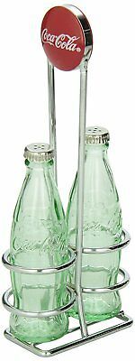 TableCraft Coca-Cola Salt and Pepper Shaker Set with Chrome Plated Metal Rack