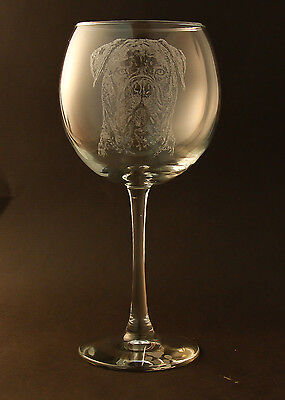 New Etched Mastiff on Large Elegant Wine Glasses - Set of 2