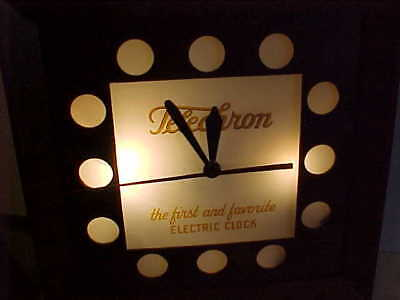 """Telechron Vintage Advertising Electric Wall Clock """"first And Favorite"""" It Works"""