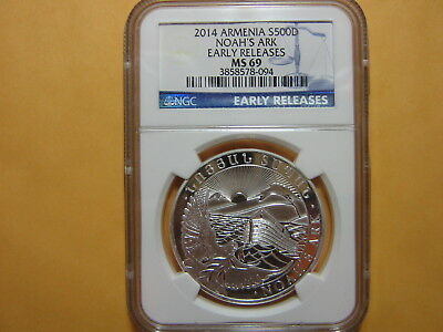 2014 Armenia NOAH'S ARK 500 Dram Silver 1 Oz NGC MS69 Early Releases