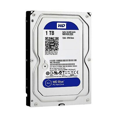 "Western Digital 1TB SATA 3.5"" HDD WD Blue 7200RPM 64MB Internal Hard Disk Drive"