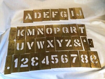 """Vintage 2"""" Letters and Numbers+ Brass Interlocking Stencil Set in Original Box"""
