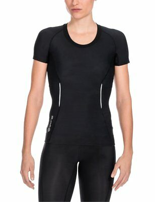 Skins A200 Women's Short Sleeve Compression Top, Small, Black/Black
