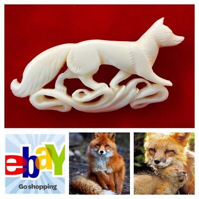 Fox Art jewelry Hand Carved Brooch Broach Pin vintage style #foxjewelry #foxpin