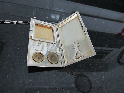 "Antique ""FP STERLING"" Money Holder Coins Card Case with notebook & pencil 1900s"
