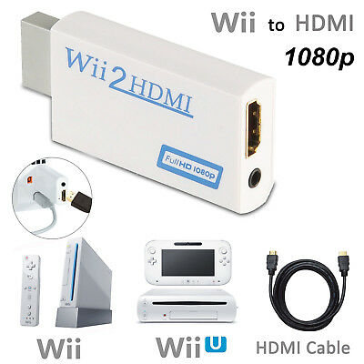 Wii to HDMI HD Video Converter Adapter White Upscaling 720P 1080P + HDMI Cable