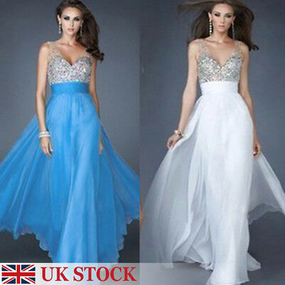 UK Sexy Women Bridesmaid Ball Prom Gown Formal Evening Party Cocktail Long Dress