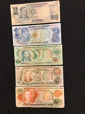 PHILIPPINES Vintage Issues 1 - 20  peso notes 5 piece lot
