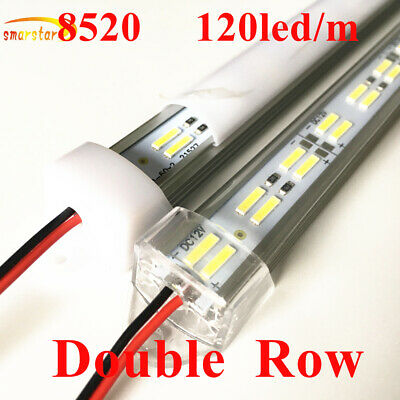 Dual Row 8520 SMD LED Strip Lights Aluminum Groove Milk Clear Cover DC 12V Lamp