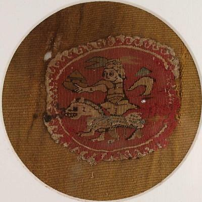 An early Christian Coptic Textile of the Sacred Horseman, ca 5th - 7th century A