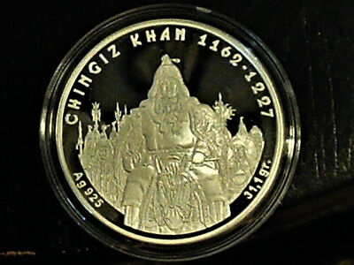 2008 Genghis Khan 100 Tenge Silver Proof Gold Gilded Coin with COA