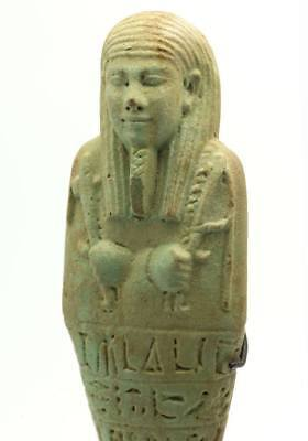 A large Egyptian Green Glazed Ushabti for Ibdibu, 26th Dynasty c. 664 -525 B.C.