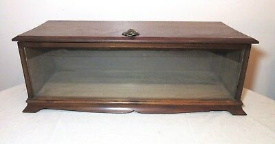 large antique handmade rectangular wood glass brass train counter display case