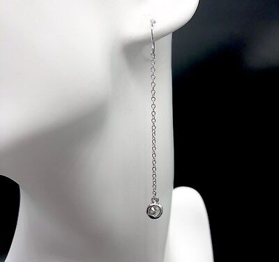 By K. SOLEIL Round Cut Cubic Zirconia Silver Plated Chain Dangle Hook Earrings