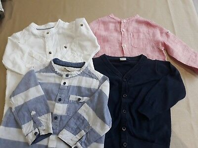 baby boy long sleeve shirt bundle, 3 shirts 1 cardigan . 9 -12 moths