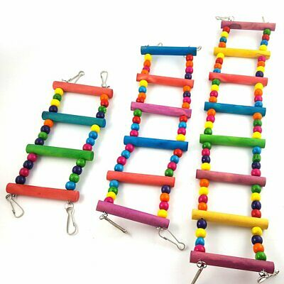 Pet Bird Ladder Toy Parrot Cockatiel Cage Wood Hammock Swing Hanging Toys KU