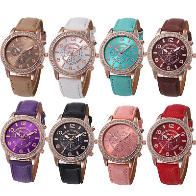 Fashion Women Bracelet Watch Luxury Diamond Analog Leather Quartz Wrist Watches