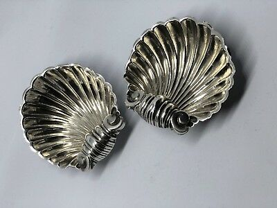 Pair Sterling Silver Vintage Hallmarked Clam Shell Dishes