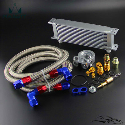 Universal Thermostatic 80 Deg 13 Row Oil Cooler w/ New-style Oil Line  Kit