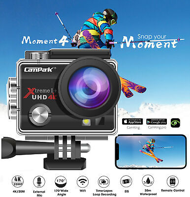Campark Sports Action Cam 4K WiFi 16MP HD HD Helmkameras 30M unterwasserkamera