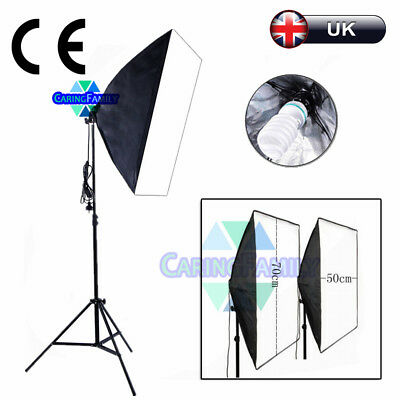 135W Photography Studio Softbox Continuous Lighting Soft Box Light Stand Kit UK