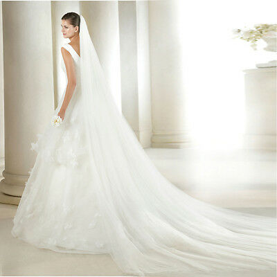 Women Tulle 3M Length White Wedding Bridal Long Veils Chapel Cathedral Soft Pure