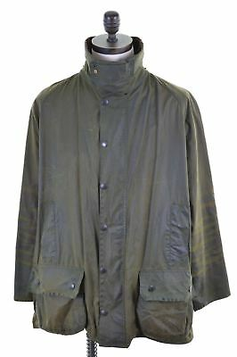 BARBOUR Mens Waxed Cotton Jacket Size 50 3XL Green Cotton