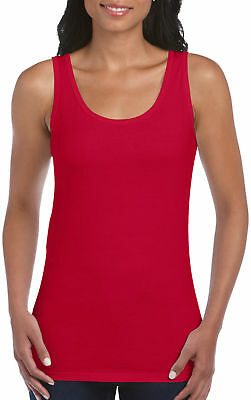 Gildan Softstyle Cotton Ladies Tank Top Womens Casual Strappy Vest Top 64200L