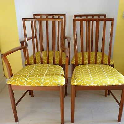 Four Mid Century Teak Dining Chairs Re Upholstered In Orla Kiely Dandelion