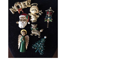 Lot Of 7  Christmas Pins - Estate Find - Most Vintage - Cat, Tree, Angel, Lamp