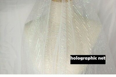 Fabric holographic Net Lace fashion Dress clothing silver laser hollow mesh