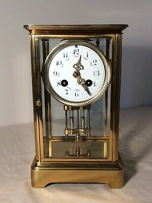 Antique French Four Glass Striking Mantle Clock by Vincenti et Cie