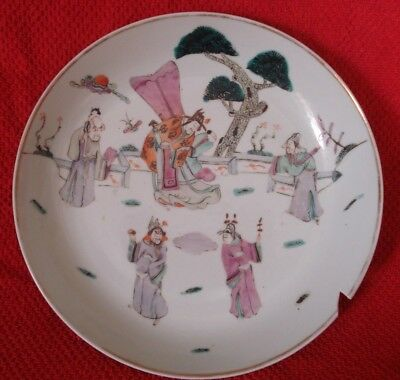 Antique Chinese Porcelain Plate With Figures 19 Th