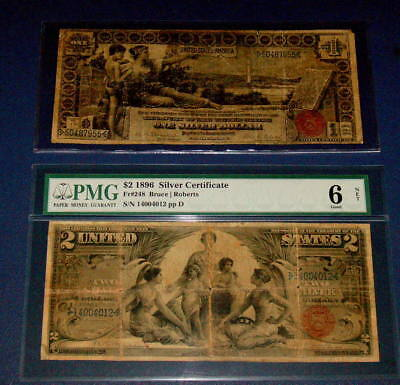 Two 1896 EDUCATIONAL Note $1 VG and PMG  $2 Dollar SILVER Certificate G 6