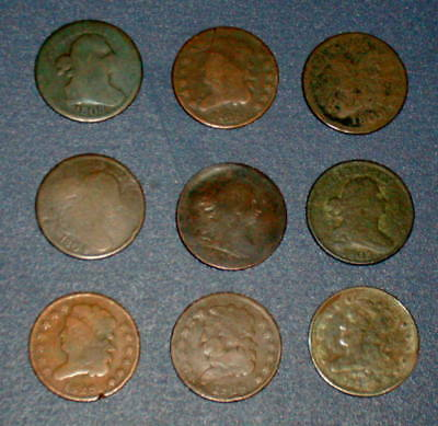 9 HALF CENT 1803 1804 1806 1808 1809 1826 1828 1835 CLASSIC Draped BUST Coins
