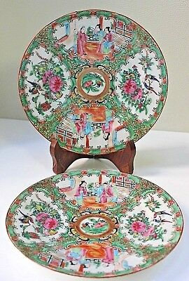 Pair 19th Century Chinese Canton Famille Rose Figure Plates