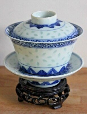 Kangxi Antique Chinese Blue White Porcelain Rice Grain Porcelain Cup Saucer N2