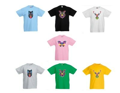 New Boys Girls Kids Animal Dog Elf Butterfly Wolf Top T Shirts Age 3-13 Years