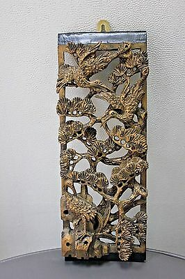 Stunning 19Th Century Chinese Gilt Carved Wood Panel #2 Cranes Pines