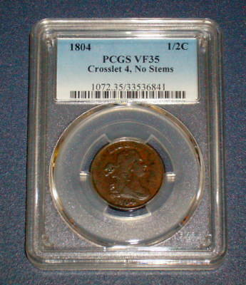 PCGS 1804 Crosslet 4 No Stems Draped Bust VF 35 HALF CENT 1/2c