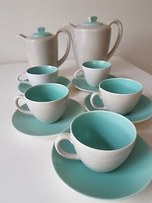 Poole pottery Twintone vintage coffee set in Ice Green and Seagull C57