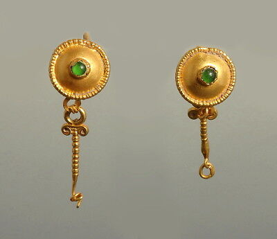 Roman Gold Droplet Earrings Set With Glass (L744)