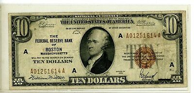 1929 $10 National Currency Federal Reserve Bank Of Boston #614A
